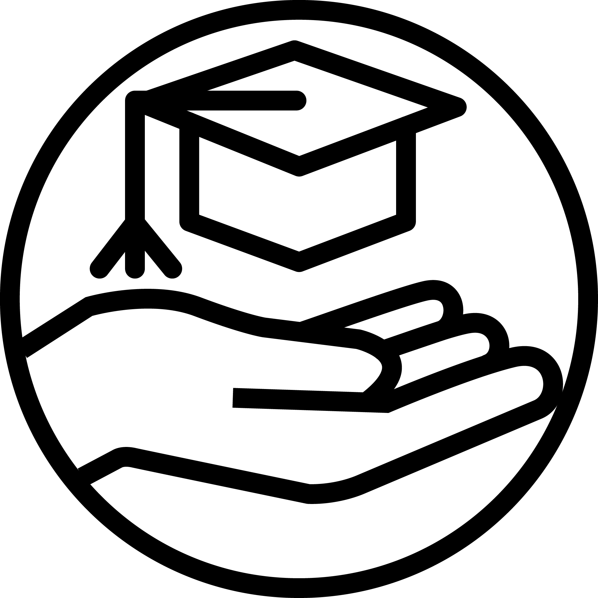 Icon of a hand outstretched with a graduation cap floating above it
