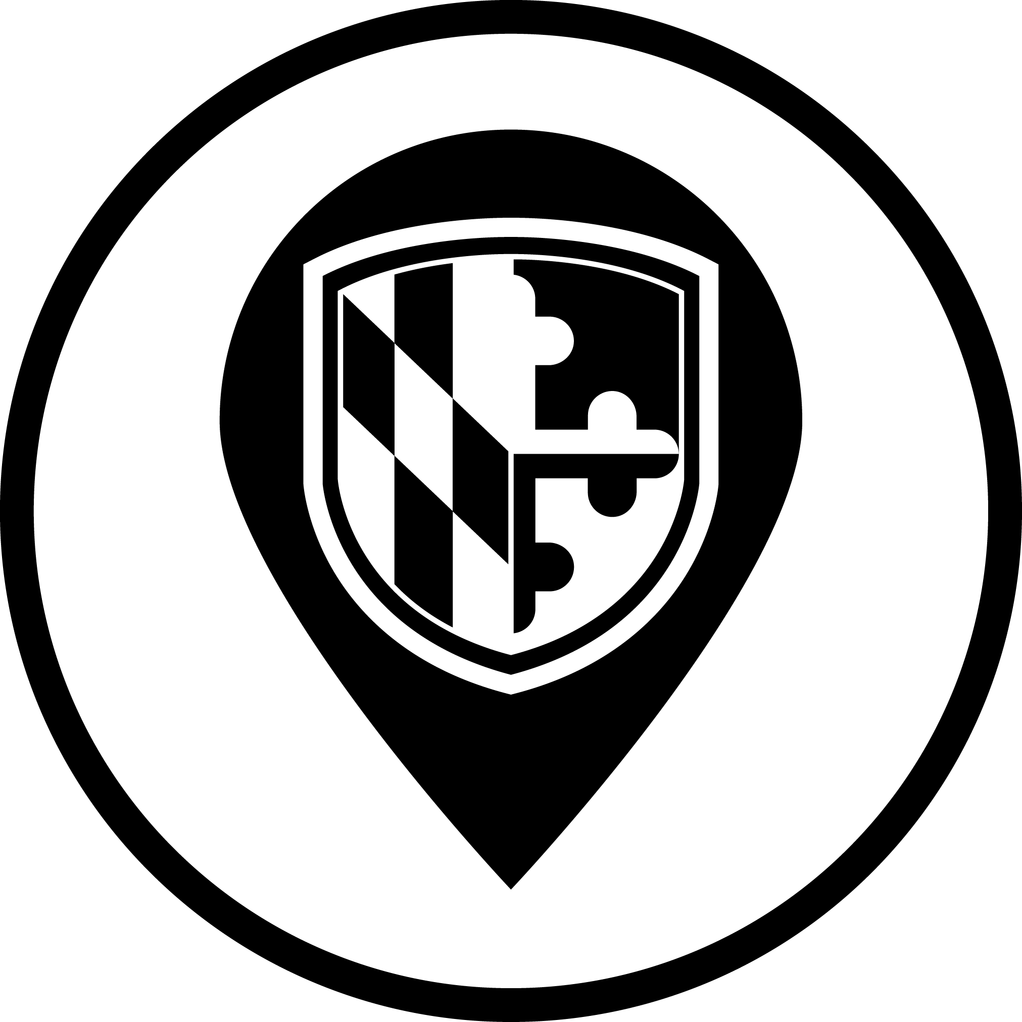 Icon of a location pin with the UMBC shield seal in the middle